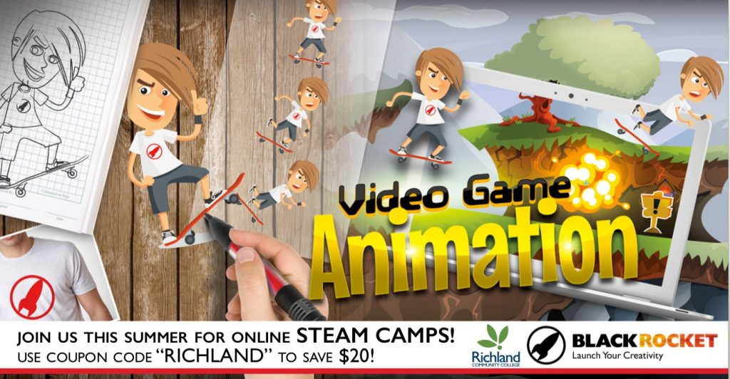 Graphic for online summer STEAM camps