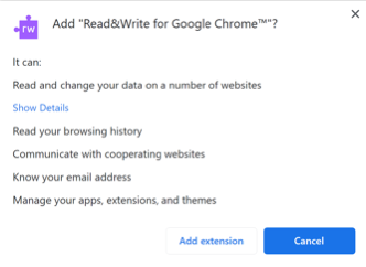 """A pop up box will appear, click """"Add extension"""""""