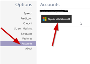 """Click on """"Accounts"""", then click """"Sign in with Microsoft"""""""