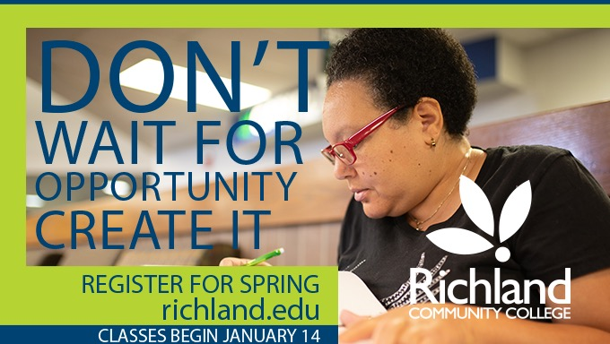 "Student studying with text ""don't wait for opportunity create it. Register for Spring Richland.edu. Classes begin January 14"""